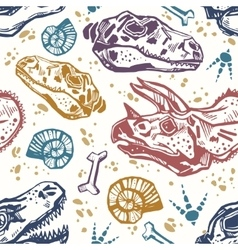 Fossil seamless pattern with dinosaur bones vector