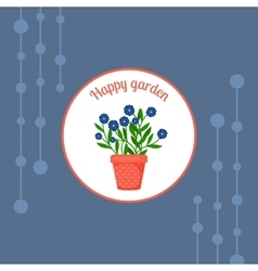 Blue flowers in a pot badge vector