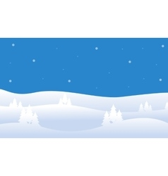Silhouette of hill christmas landscape vector