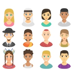 Different nations people portraits set vector