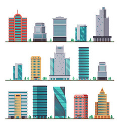 Buildings and modern city houses flat icons vector