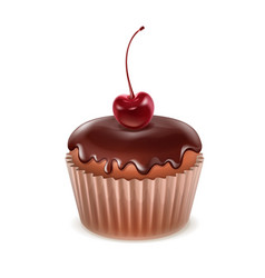 Muffin with cherry vector