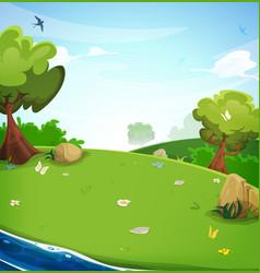 Spring landscape background with river vector
