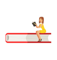 Micro young woman sitting on a giant book girl vector