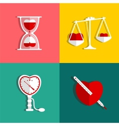 Love measure and medicine heart checkup set vector