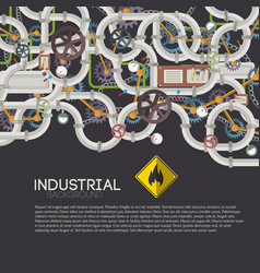 Industrial pipe system background vector