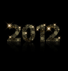 2012 made from golden snowflakes vector
