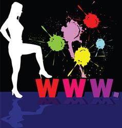 Girl white silhouette and internet address vector
