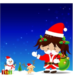Christmas cartoon little girl with santa suit vector