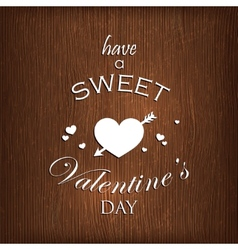 Holiday with hearts and arrow on wood background vector