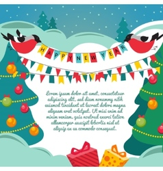 Christmas card with a birds vector