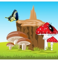 Mushrooms beside stump vector