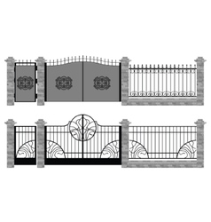 Old street fences and gates art nouveau and modern vector