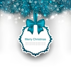 Christmas greeting card with bow ribbon vector