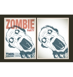 Zombie party poster collection vector