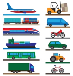 Transport flat icons vector
