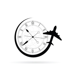 Clock antique with airplane vector