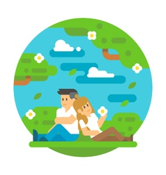 Flat design couple sitting outdoor vector