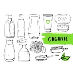 Set of linear hand drawn cosmetic bottles vector