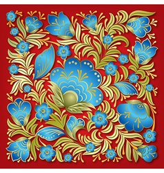 Abstract summer blue floral ornament on red vector
