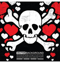 skulls with hearts vector image