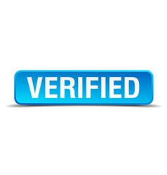 Verified blue 3d realistic square isolated button vector