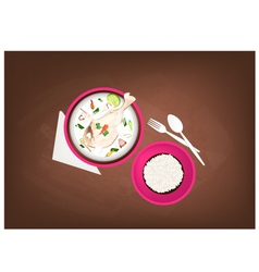 Tom kha gai or thai chicken cream soup vector