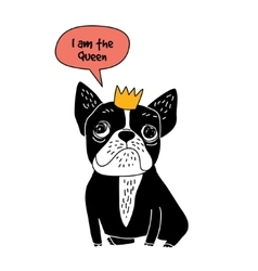 Dog french bulldog queen fun symbol isolate on vector