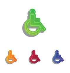Disabled sign  colorfull applique vector