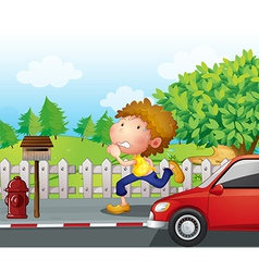 A boy running at the street with a mailbox vector image vector image