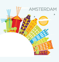 Amsterdam skyline with color buildings blue sky vector