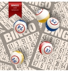 Bingo background with balls and cards vector