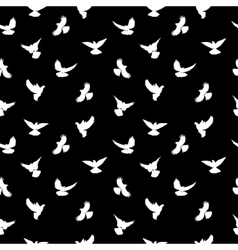 Birds silhouettes - flying seamless pattern black vector