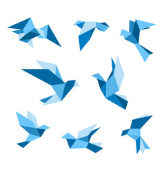 blue flying pigeon and dove birds set vector image