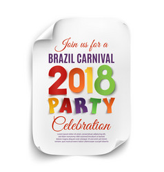 Brazil carnival 2018 party poster on white vector