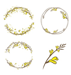Broom yellow flower decorative frame vector