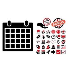 Calendar Flat Icon with Bonus vector image