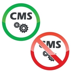 Cms settings permission signs set vector