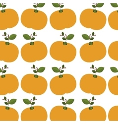 Colorful pattern of tangerines with stem and leafs vector
