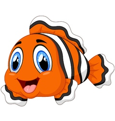 Cute clown fish cartoon posing vector
