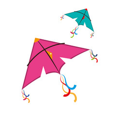 cute kite flying icon vector image