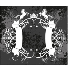 Decorative frame with crown and horses vector