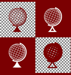 Earth globe sign bordo and white icons vector