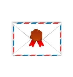 Envelope with wax seal flat icon vector image vector image