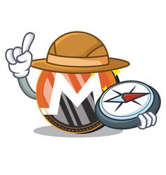 Explorer monero coin character cartoon vector