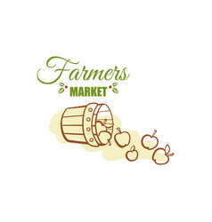 farmers market badge design vector image vector image