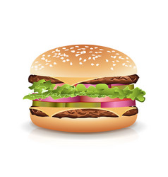 Fast food realistic burger hamburger icon vector