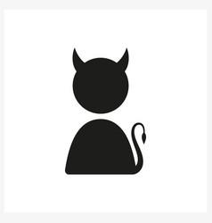 funny icon with devil profile vector image