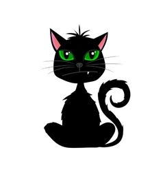 Halloween black cat with fang on white background vector