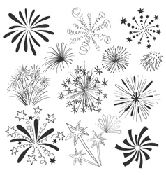Hand drawn colorful fireworks set vector image vector image